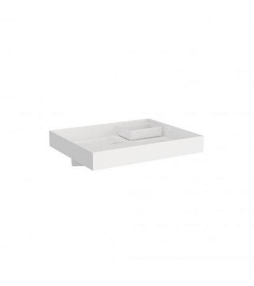 Lavabo avec réservoir d'eau sans trou The Grid Cosmic blanc mat 60 cm