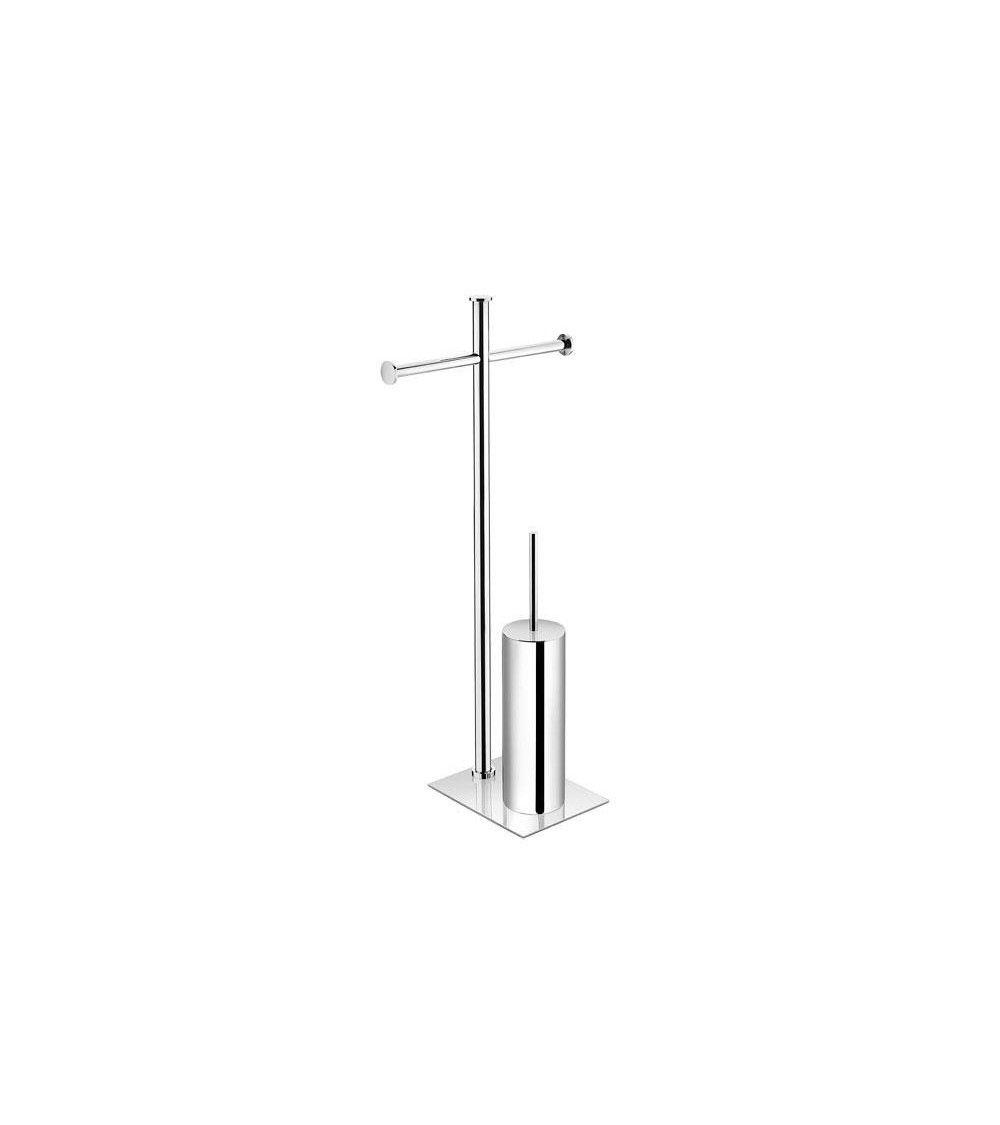 Porte rouleaux et porte balayette wc chrome kubic poser for Porte rouleaux wc
