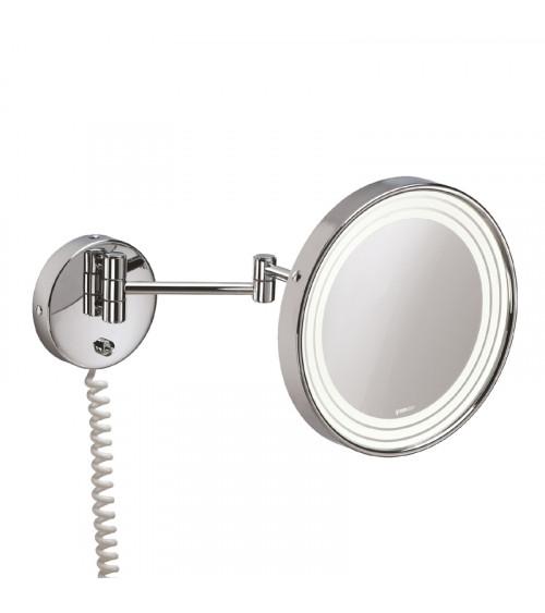 Miroir grossissant (x3) rond mural avec éclairage Illusion Pomd'or chromé