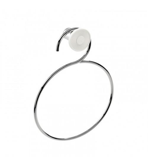 Porte-serviette anneau Equilibrium Pomd'or blanc mat-chromé