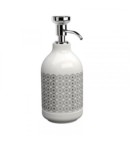 Porte-savon liquide à poser Equilibrium Pomd'or circle blanc brillant-chromé