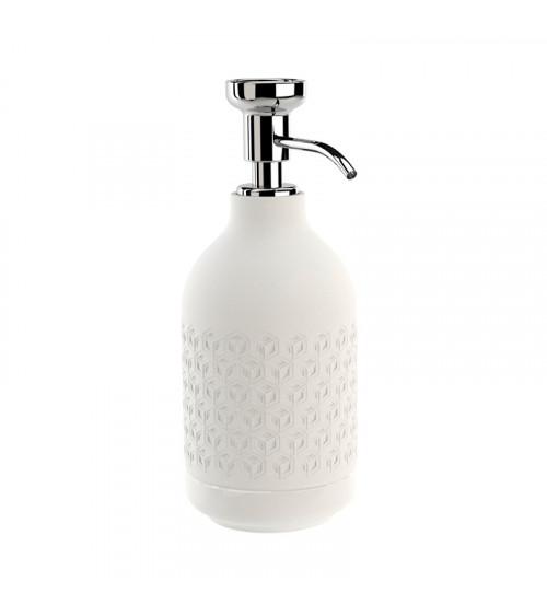 Porte-savon liquide à poser Equilibrium Pomd'or hexagone blanc mat-chromé