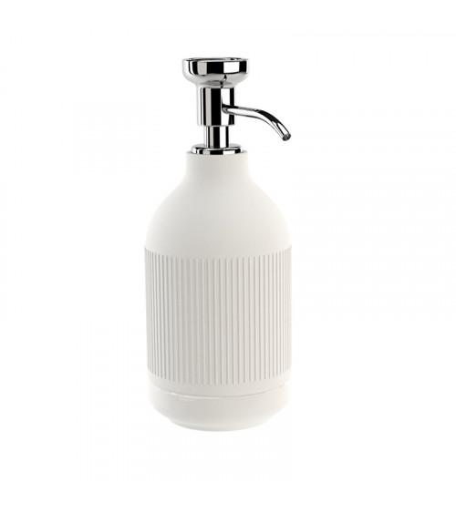 Porte-savon liquide à poser Equilibrium Pomd'or rayures blanc mat-chromé