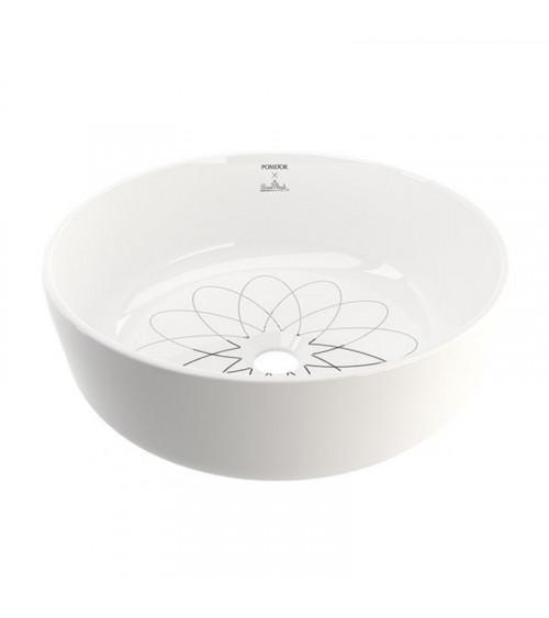 Lavabo Equilibrium Pomd'or blanc mat-blanc brillant-platine