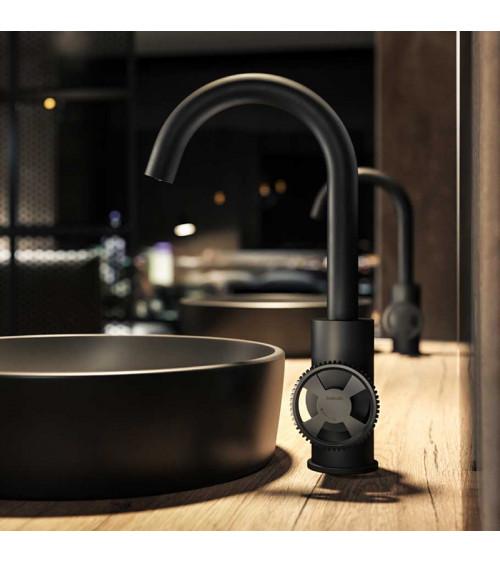 Mitigeur de lavabo avec bec mobile laiton brossé PVD Cobber@work Hotbath