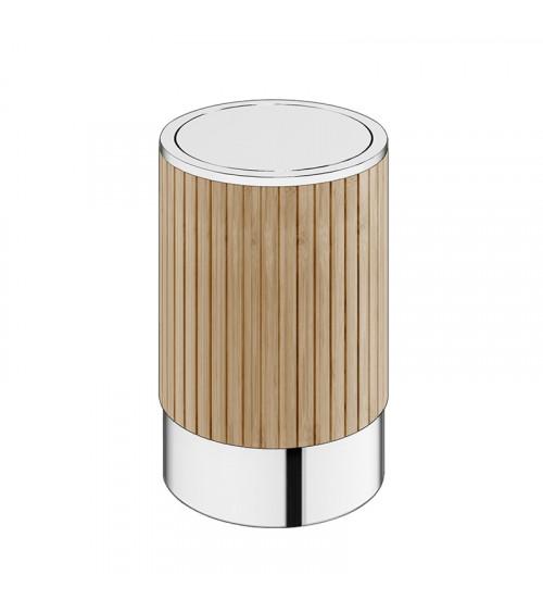 Poubelle Eda Pomd'or bambou naturel - chromé