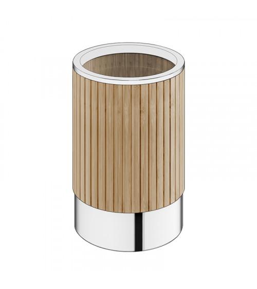 Poubelle sans couvercle Eda Pomd'or bambou naturel - chromé