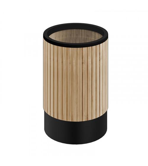 Poubelle sans couvercle Eda Pomd'or bambou naturel - noir mat