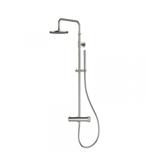 Set de douche, avec mitigeur thermostatique, pomme de douche 20 cm et douchette Archie Hotbath acier brossé