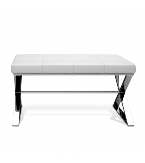 Banc en cuir eco Bench Decor Walther chrome / siège en cuir eco blanc