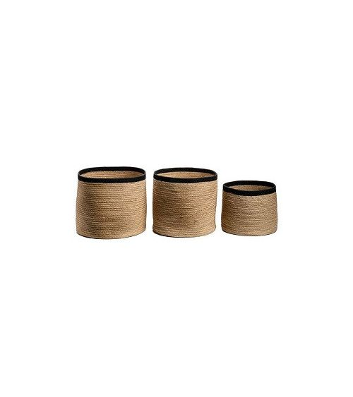 Set de 3 paniers ronds Big JUTE naturelle/noir - JUTE
