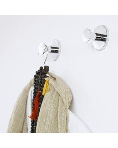 Patère/Crochet mural à coller chromé-DUO Round