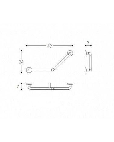 Poignée baignoire 135° gauche chrome - ARCHITECT