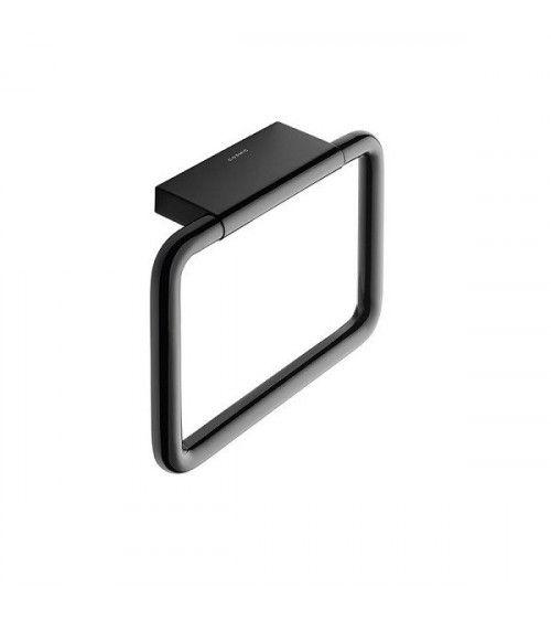 Porte-serviette anneau mural 20x15cm noir - BLACK & WHITE