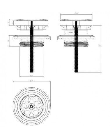 Bonde avec couvercle inox poli 55mm - MINI WASH ME
