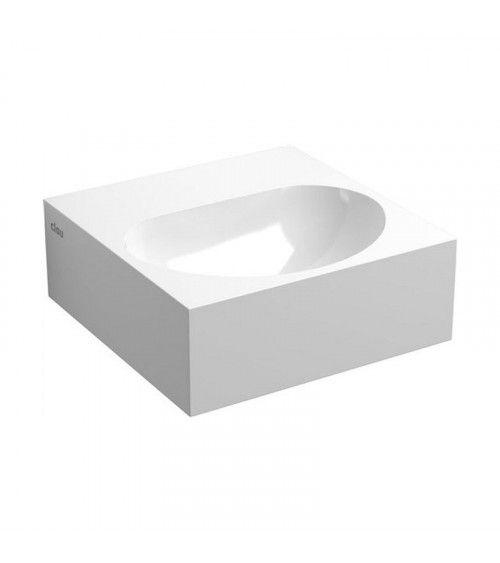 FLUSH 4 Lave-mains carré 27cm marbre minéral blanc