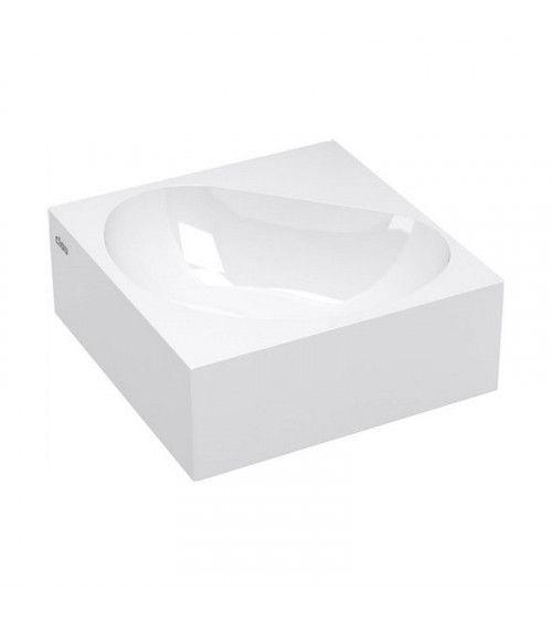 FLUSH 5 Lave-mains d'angle marbre minéral blanc 27cm