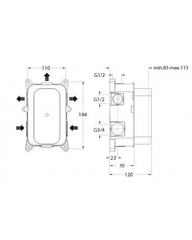 Pack de douche encastrée thermostatique classique - Quadri