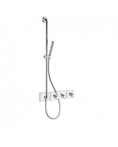 Façade 2 sorties laiton avec barre de douche intégrée chromé-TRIVERDE