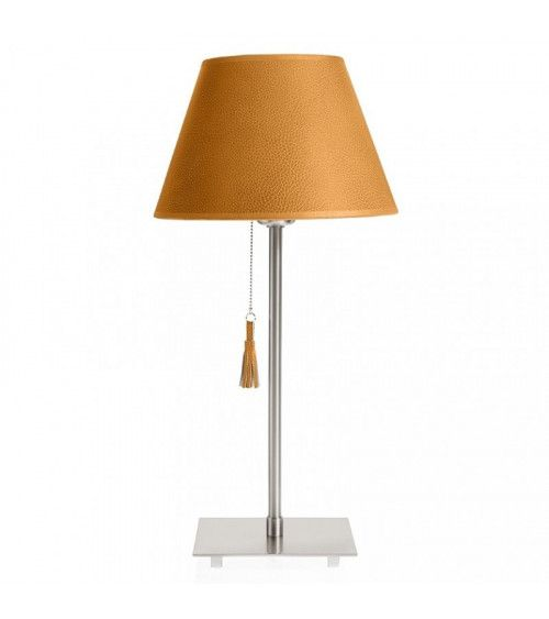 Lampe de table chrome & cuir caramel Room 20