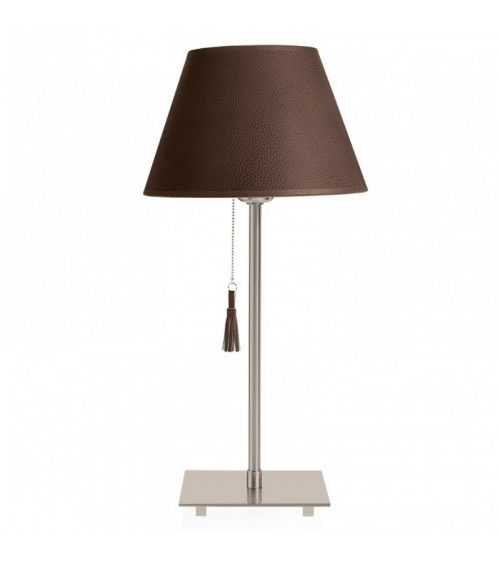 Lampe de table chrome & cuir marron - ROOM 20