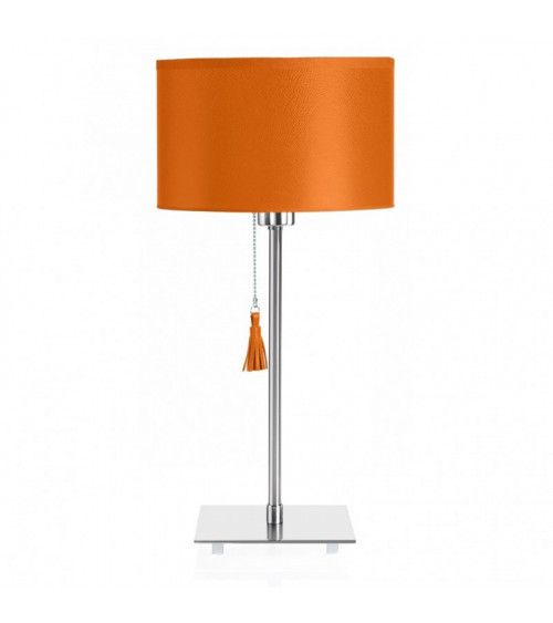 Lampe de table chrome & cuir orange Room 25