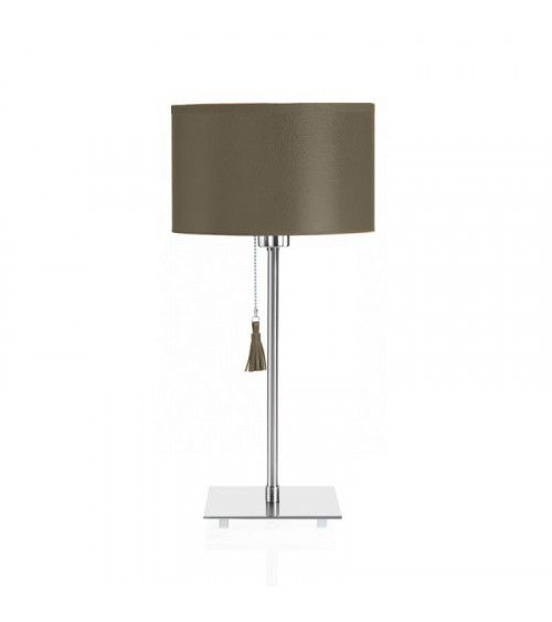 Lampe de table chrome & cuir beige limoneux Room 25