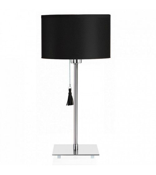 Lampe de table chrome & cuir noir Room 25