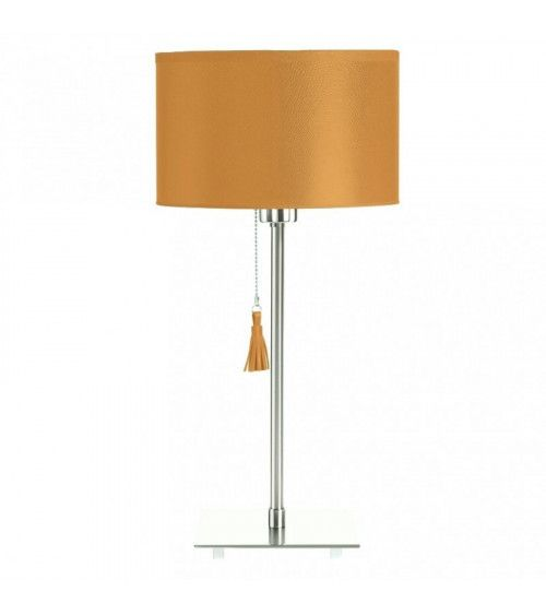 Lampe de table chrome & cuir caramel Room 25