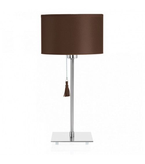 Lampe de table chrome & cuir marron Room 25