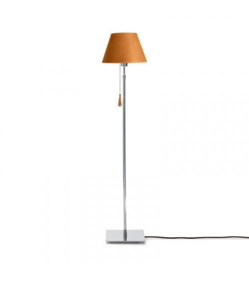 Lampadaire chrome & cuir orange Room 30