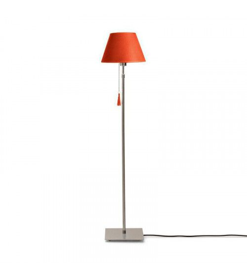 Lampadaire chrome & cuir orange Room 30