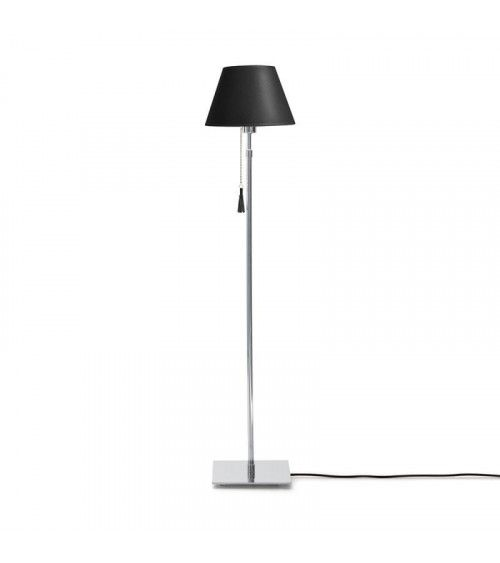 Lampadaire chrome & cuir noir Room 30