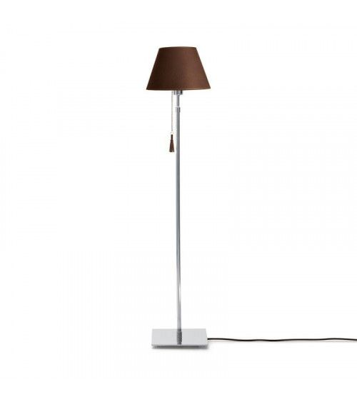 Lampadaire chrome & cuir noir marron Room 30
