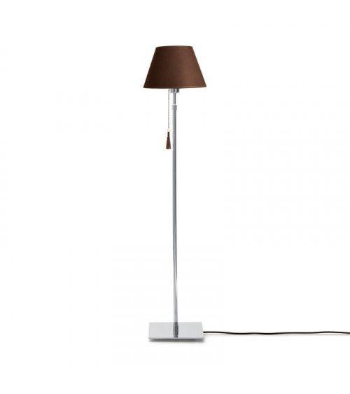Lampadaire chrome & cuir noir marron Room 30
