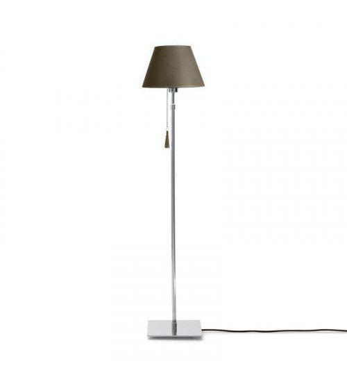 Lampadaire chrome & cuir beige limoneux Room 30