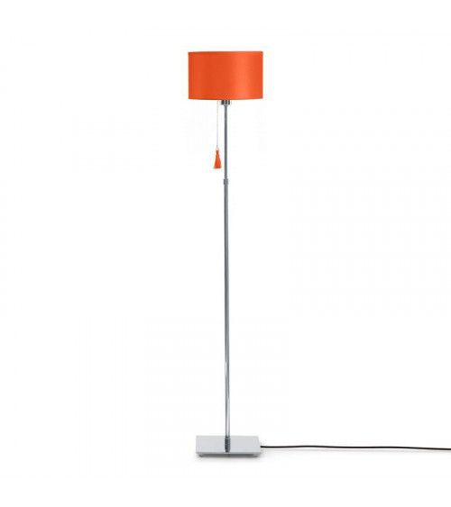 Lampadaire chrome & cuir orange Room 35