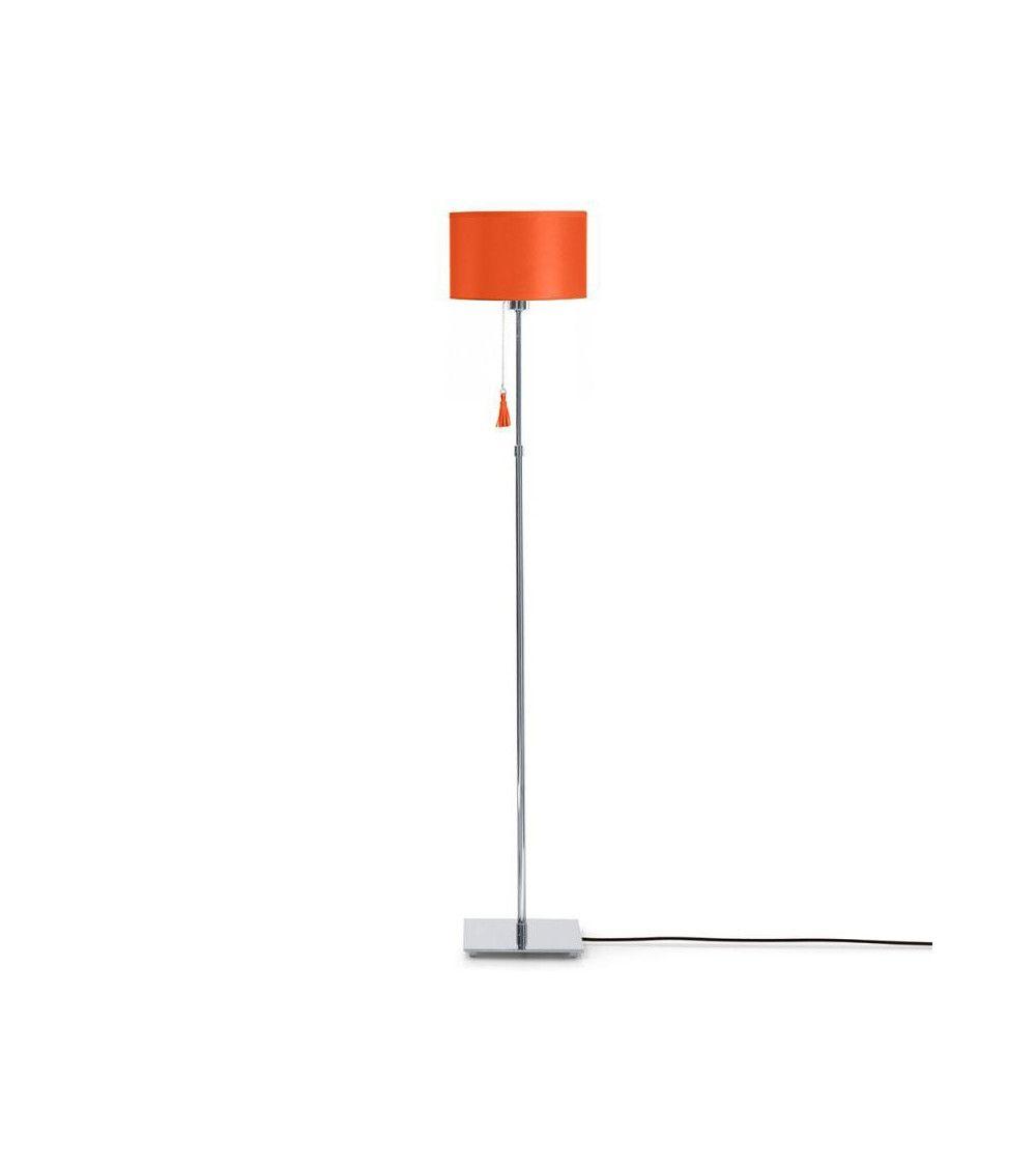 Lampadaire chrome & cuir orange Room 35