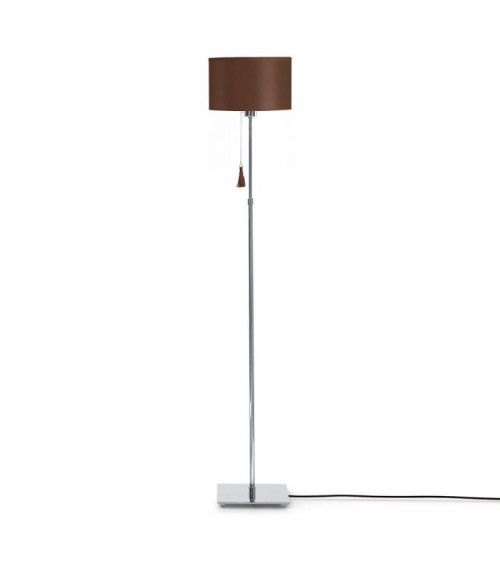Lampadaire chrome & cuir marron Room 35