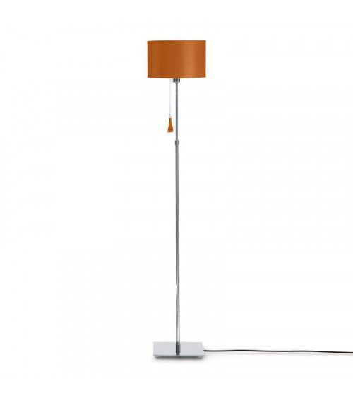 Lampadaire chrome & cuir caramel Room 35