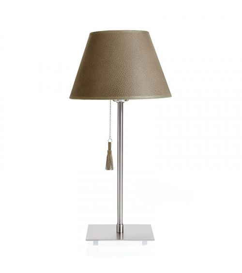 Lampe de table chrome & cuir taupe - ROOM 20
