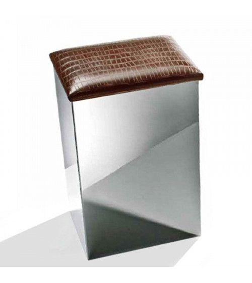 Corbeille à linge chrome et cuir synthétique lodge - Case HK 1