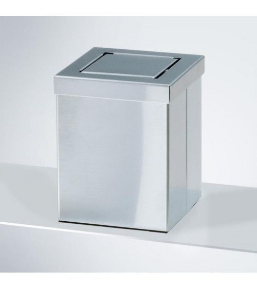 Corbeille à papier carrée avec couvercle basculant acier mat - DW 1130