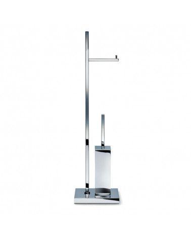 Combiné porte-balai WC / porte-rouleau sur pied nickel satiné - DW 671