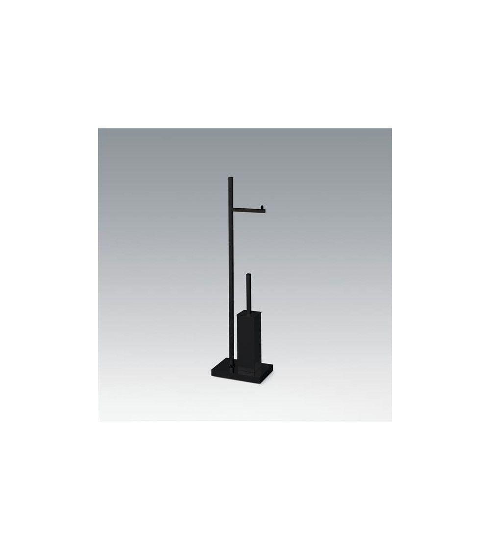Combiné porte-balai WC / porte-rouleau sur pied noir mat - DW 671