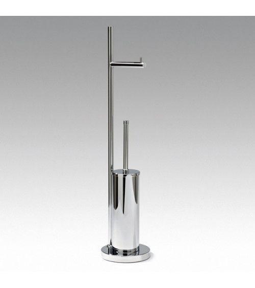 Combiné porte-balai WC / porte-rouleau sur pied chromé - DW 670
