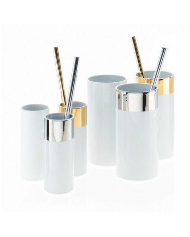 Porte-balai WC en acier platiné et porcelaine sans brosse - WCB S